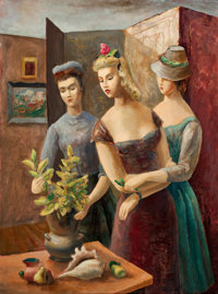 BROR ALEXANDER UTTER (American, 1913-1993) The Visitors, 1943 Oil on canvas board 24 x 17-3/4 inc