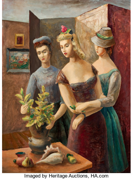 BROR ALEXANDER UTTER (American, 1913-1993)The Visitors, 1943Oil on canvas board24 x 17-3/4 inches (61.0 x 45.1 cm)...