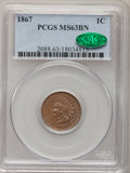 Indian Cents: , 1867 1C MS63 Brown PCGS. CAC. PCGS Population (40/35). NGC Census:(1/6). Mintage: 9,821,000. Numismedia Wsl. Price for pro...