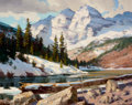 Western, FROM THE COLLECTION OF SUSAN & ALLEN COLES. PAUL STRISIK (American, 1918-1998). Maroon Bells in Winter, 1983. Oil on c...