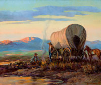 PROPERTY OF A PROMINENT TEXAS COLLECTOR  OLAF WIEGHORST (American, 1899-1988) Camping Oil on c