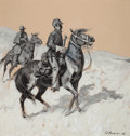 Western, PROPERTY OF A PROMINENT TEXAS COLLECTOR. EDWARD BOREIN (American, 1873-1945). Pony Soldiers, 1906. Grisaille on colore...