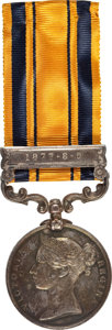 """Military & Patriotic:Foreign Wars, British Campaign Medal: South Africa Medal with """"1877-8-9"""" Bar, 1877-79, named to """"SERGT W. RUSSELL, NATAL NATIVE CONGT"""". Ve..."""