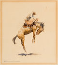Works on Paper, JOHN EDWARD BOREIN (American, 1873-1945). Bucking Bronc. Watercolor on paper laid on cardboard. 7-1/2 x 6-1/2 inches (19...