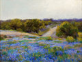 Western, JULIAN ONDERDONK (American, 1882-1922). Bluebonnets at LateAfternoon. Oil on board. 9 x 12 inches (22.9 x 30.5 cm). Sig...