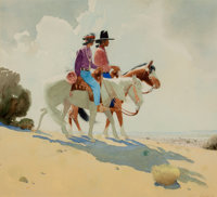 PROPERTY OF A PROMINENT TEXAS COLLECTOR  GERARD CURTIS DELANO (American, 1890-1972) Navajos on Horseback<