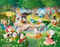 Original Comic Art:Miscellaneous, Carl Barks Surprise Party at Memory Pond Preliminary Painting Original Art (1994)....