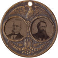 "Political:Ferrotypes / Photo Badges (pre-1896), Greeley & Brown: A Fine Example of the Large-Sized ""Porthole""Ferrotype Jugate. ..."