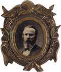 Political:Ferrotypes / Photo Badges (pre-1896), Rutherford B. Hayes: A Choice 1876 Ferro and Fancy Brass ShellFrame. ...