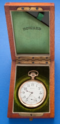 Timepieces:Pocket (post 1900), Howard, 16 Size, 17 Jewel With Original Box. ...