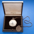 Timepieces:Pocket (post 1900), Elgin 12 Size, White Gold Filled, 17 Jewel With Original Box. ...