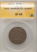 Colonials, 1787 1C Fugio Cent, STATES UNITED, 4 Cinquefoils, Pointed Rays XF45 ANACS. Newman 13-X, W-6855, R.2....