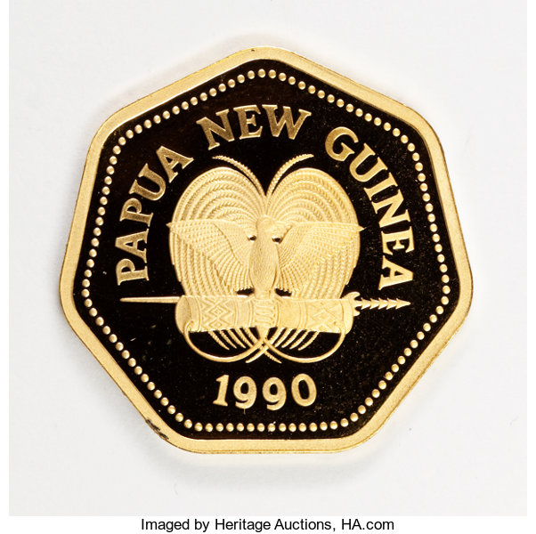 Papua New Guinea Constitutional Monarchy Gold 100 Kina 1990