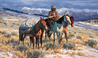 GARY CARTER (American, b.1939) The Reckless Breed Oil on masonite 24 x 40 inches (61.0 x 101.6 c