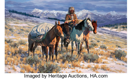 GARY CARTER (American, b.1939) The Reckless Breed Oil on masonite  24 x 40 inches (61.0 x 101.6 cm) Signed lower rig...