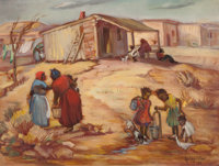 LOIS HOGUE SHAW (American, 1897-2001) Neighborhood Water Supply, 1946 Oil on board 18 x 24 inches