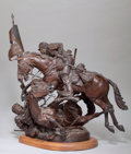 Western:20th Century, FROM THE COLLECTION OF SUSAN & ALLEN COLES. JAMES NATHAN MUIR (American, b.1945). Saving the Flag. Bronze. 36 x 32 x 2...