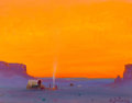 Paintings, FROM A PRIVATE DALLAS COLLECTION. GERARD CURTIS DELANO (American, 1890-1972). Evening Camp. Oil on artist's board. 14 ...