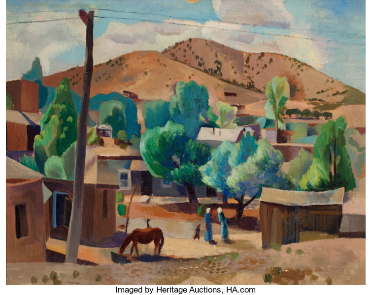 Canvas Santa Fe >> Willard Nash American 1893 1943 Santa Fe Vista Oil On Canvas