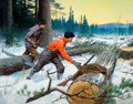 Paintings, PHILIP RUSSELL GOODWIN (American, 1882-1935). Loggers at Work. Oil on canvas. 29 x 37 inches (73.7 x 94.0 cm). ...