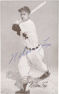 Baseball Cards:Autographs, Nellie Fox Signed Exhibit Card....
