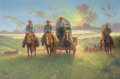 Western, JACK TERRY (American, b.1952). Russell Country Cowboys, 2010. Oil on canvas. 24 x 36 inches (61.0 x 91.4 cm). Signed low...