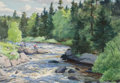 Western:Modern, AIDEN LASSELL RIPLEY (American, 1896-1969). Campers By theStream, 1930. Watercolor and gouache on paper . 13-1/4 x19-1...
