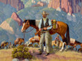 Texas, FRED DARGE (American, 1900-1978). On Guard. Oil on artist'sboard. 18 x 24 inches (45.7 x 61.0 cm). Signed lower right: ...