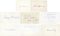 Baseball Collectibles:Others, Baseball Hall of Fame Legends Signed Index Cards Lot of 8....