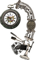 Timepieces:Pocket (pre 1900) , J. Van Der Cloese, Leyden Triple Cased Verge With Chatelaine, circa 1750. ...