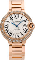 "Timepieces:Wristwatch, Cartier Rose Gold & Diamond ""Balloon Bleu"" Large AutomaticWristwatch. ..."