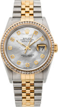 Timepieces:Wristwatch, Rolex Ref. 16200 Gent's Two Tone With Diamonds & Pearl Dial, circa 1991. ...