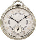 Timepieces:Pocket (post 1900), Hamilton Masterpiece 23 Jewel 18k White Gold Pocket Watch, circa 1937. ...