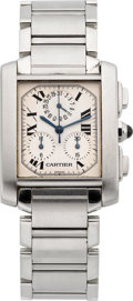 Timepieces:Wristwatch, Cartier Gent's Steel Tank Francaise Chronograph. ...