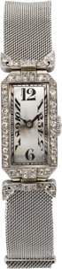 Timepieces:Wristwatch, Swiss Platinum & Diamond Lady's Wristwatch, circa 1920. ...