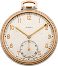 Timepieces:Pocket (post 1900), Rolex Ref. 3079 Steel & Rose Gold Pocket Watch, circa 1950's....