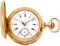 Timepieces:Pocket (pre 1900) , Swiss Very Fine Small Minute Repeater With Fancy Dial, circa 1890. ...