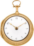Timepieces:Pocket (pre 1900) , Edward Boughton, London, Fine Verge Fusee Quarter Hour Repeater,Gold Pair Case, circa 1760. ...