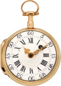 Timepieces:Pocket (pre 1900) , Swiss Gold 18th Century Verge Fusee, circa 1790. ...