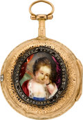 Timepieces:Pocket (pre 1900) , Lepine Paris Miniature Gold Verge With Portrait Case, circa 1790....