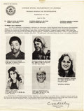 Movie/TV Memorabilia:Memorabilia, Patty Hearst Wanted Poster Leaflet. The granddaughter of publishingmagnate William Randolph Hearst, Patty Hearst gained not... (Total:1 Item)