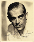 Movie/TV Memorabilia:Autographs and Signed Items, Boris Karloff Signed Photo to Donnie Dunagan. A striking Karloffportrait, signed to a Universal co-player and with a great...(Total: 1 Item)