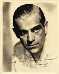 Boris Karloff Signed Photo to Donnie Dunagan. A striking Karloff portrait, signed to a Universal co-player and with a gr...
