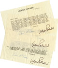 Music Memorabilia:Autographs and Signed Items, Leopold Stokowski Signed Letters....