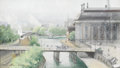 Fine Art - Painting, European:Modern  (1900 1949)  , ANNA PALM (Swedish, 1859-1924). Stockholm. Watercolor onpaper. 6in. x 10-1/4in.. Signed at lower right Anna PalmStoc...