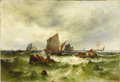 Fine Art - Painting, European:Antique  (Pre 1900), THEODOR ALEXANDER WEBER (German, 1838-1907). Boats at Sea.Oil on canvas. 24-1/2in. x 35-1/2in.. Signed at lower right ...(Total: 1 Item)