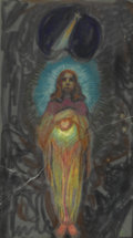 Paintings, Attributed to NICHOLAS PETKOVICH (1892-1944). Christ inspired from the Father. Pastel on paper. 14in. x 8in.. Monogramme...