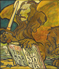 Fine Art - Painting, European:Other , ARTIST UNKNOWN. Lion of St. Mark. Watercolor on paper.16-1/2in. x 14in.. Depicts the Lion of St. Mark with the Book o...(Total: 1 Item)
