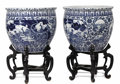 Asian:Chinese, A Pair of Chinese Porcelain Jardinières on Stands. Unknown maker,Chinese. 20th century. Porcelain. Unmarked . 25.5 inches... (Total:2 Pieces)