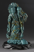Asian:Chinese, CHINESE CARVED FAUX TURQUOISE FIGURE. Chinese carved faux turquoisefigure of a guanyin, framed by a flaming mandorla, sta...